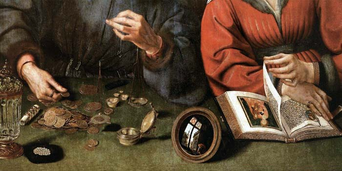 The Moneylender and his Wife (detail) 1514